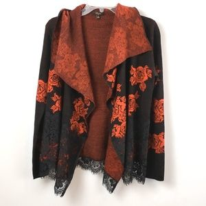 Cupio Red and Black Open Front Cardigan Lace accen